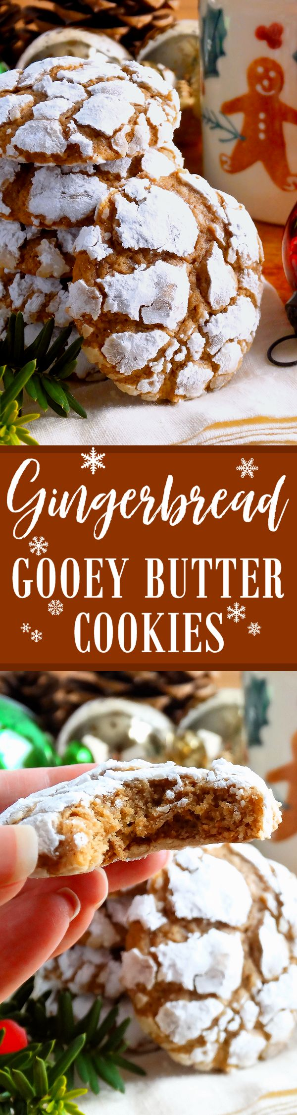 Gingerbread Gooey Butter Cookies ~ Pure Christmas deliciousness! Melt-in-your-mout