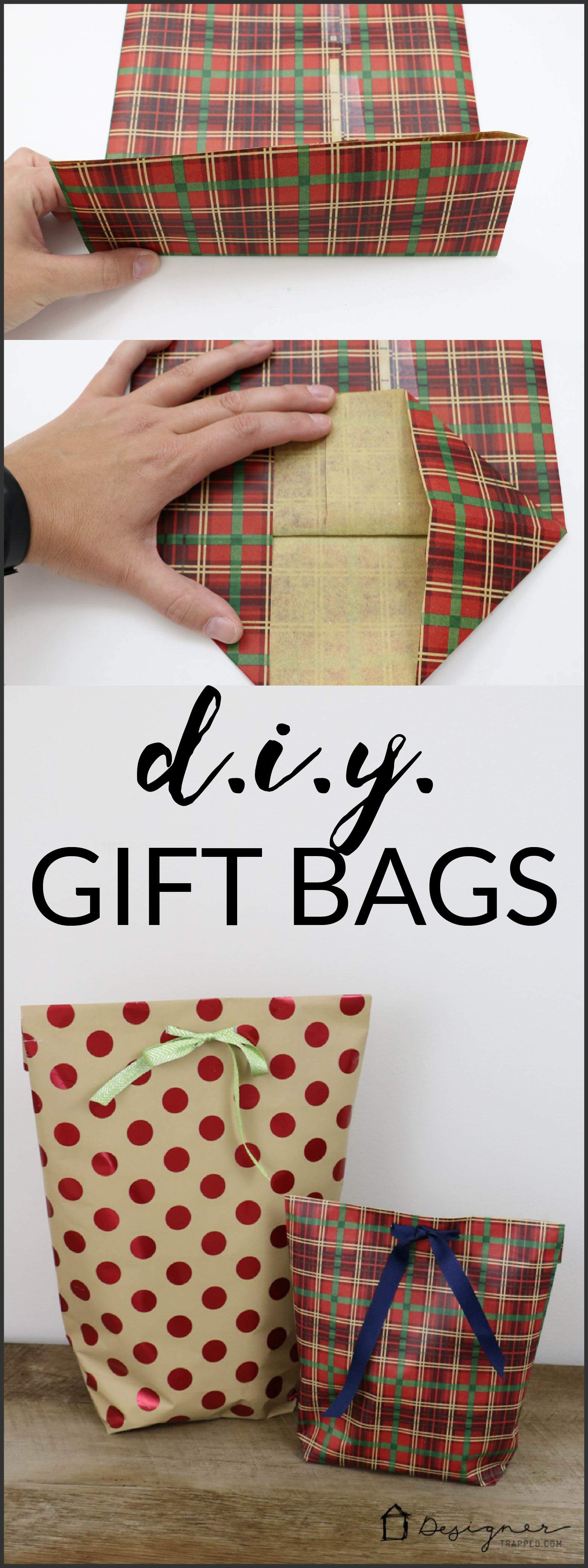 A MUST PIN FOR THE HOLIDAYS! Learn how to make a DIY gift bag from wrapping paper.