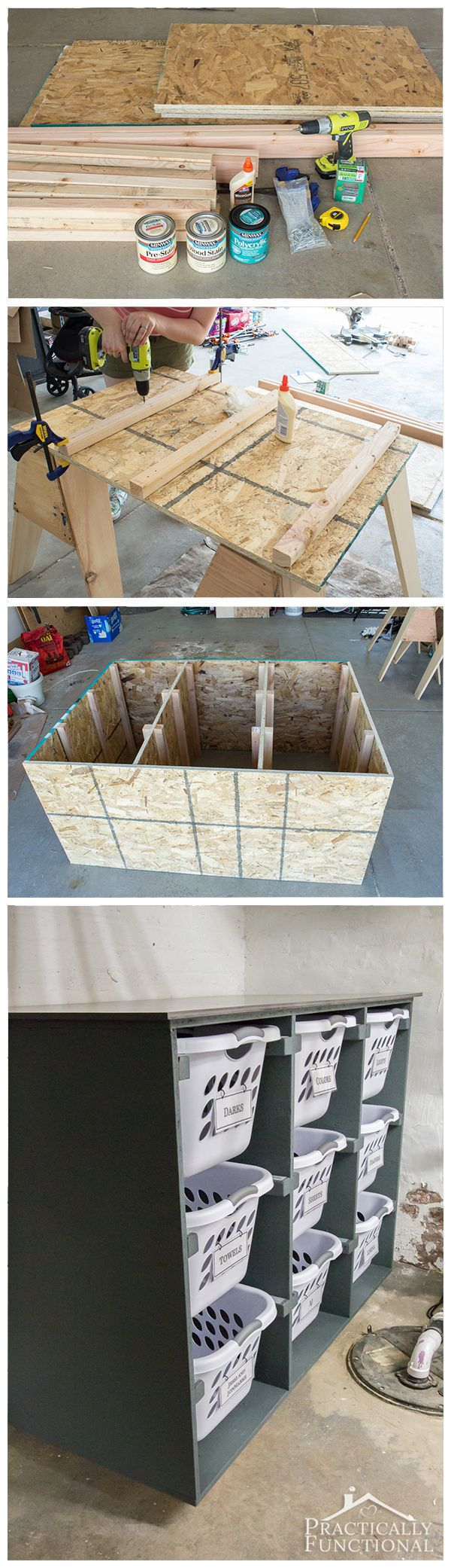 Build a simple DIY laundry basket dresser to help keep your laundry room organized