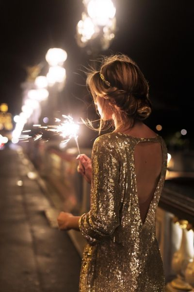 Gold sequin dress with a plunging back! So cute!