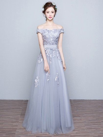 A-line Gray Tulle Appliques Lace Discounted Off-the-shoulder Prom Dresses – picked
