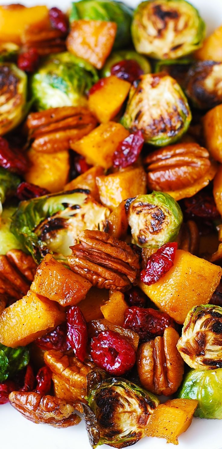 Festive Holiday Side Dish: Roasted Brussels Sprouts, Cinnamon Butternut Squash, Pe