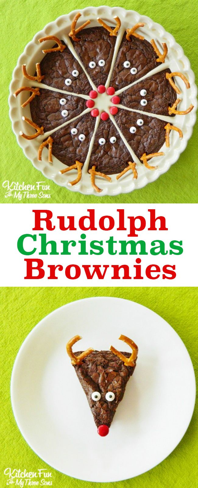 So cute! Love these easy Rudolph the Red Nose Reindeer Brownies. A perfect Christm