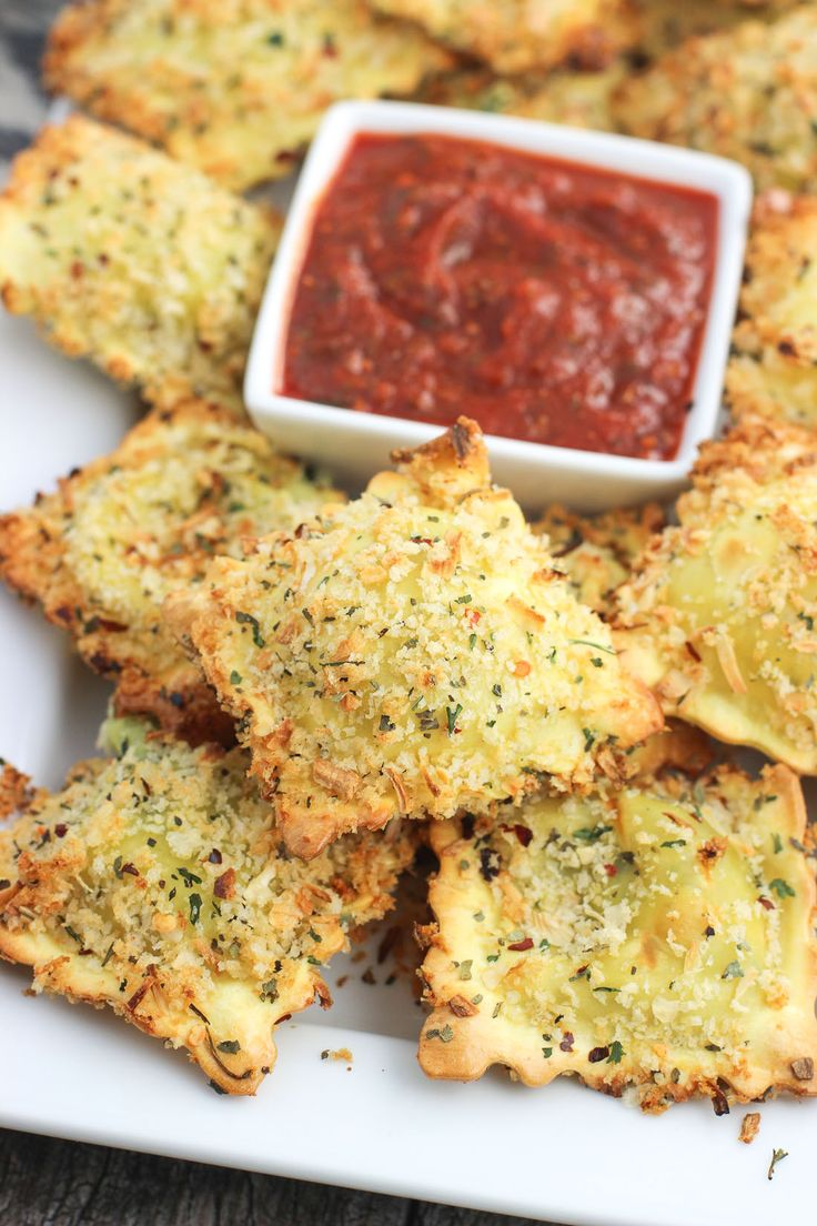 This easy recipe for crispy and baked toasted ravioli is a favorite! Ravioli is co
