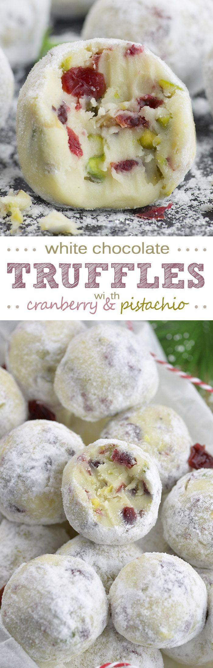 Cranberry Pistachio White Chocolate Truffles are super cute and festive no-bake de