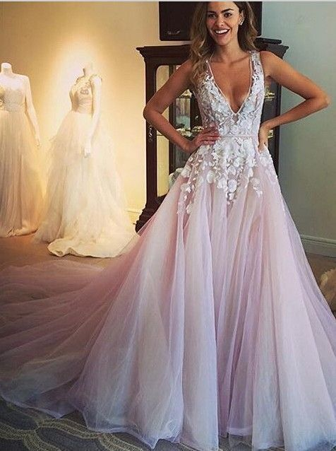 2016 cute deep-v lace appliqued pink tulle sweep train Prom Dress, ball gowns wedd