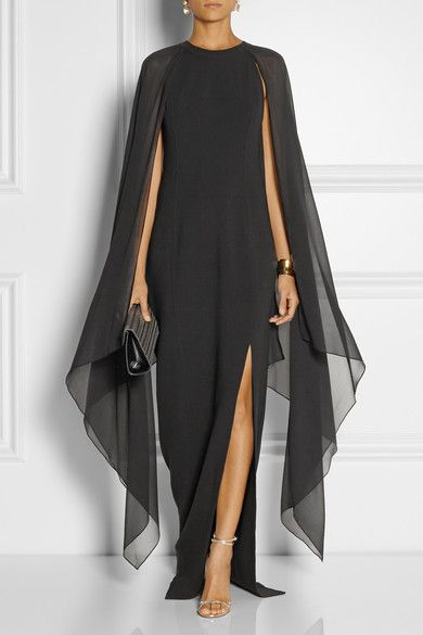 Black stretch-wool and silk-georgette Concealed hook and zip fastening at back 96%
