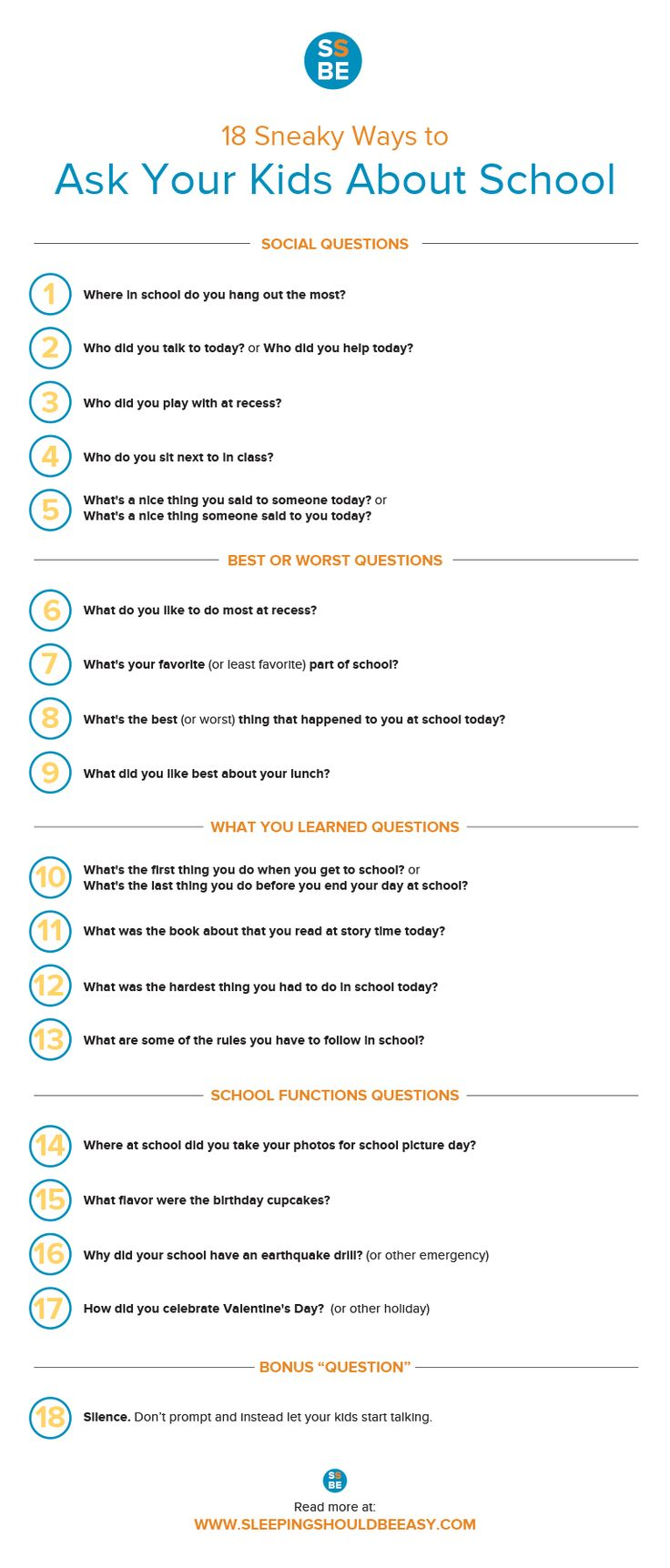 Parents, are you met with silence when you ask your children about school? Check out these 18 sneaky ways to get your kids