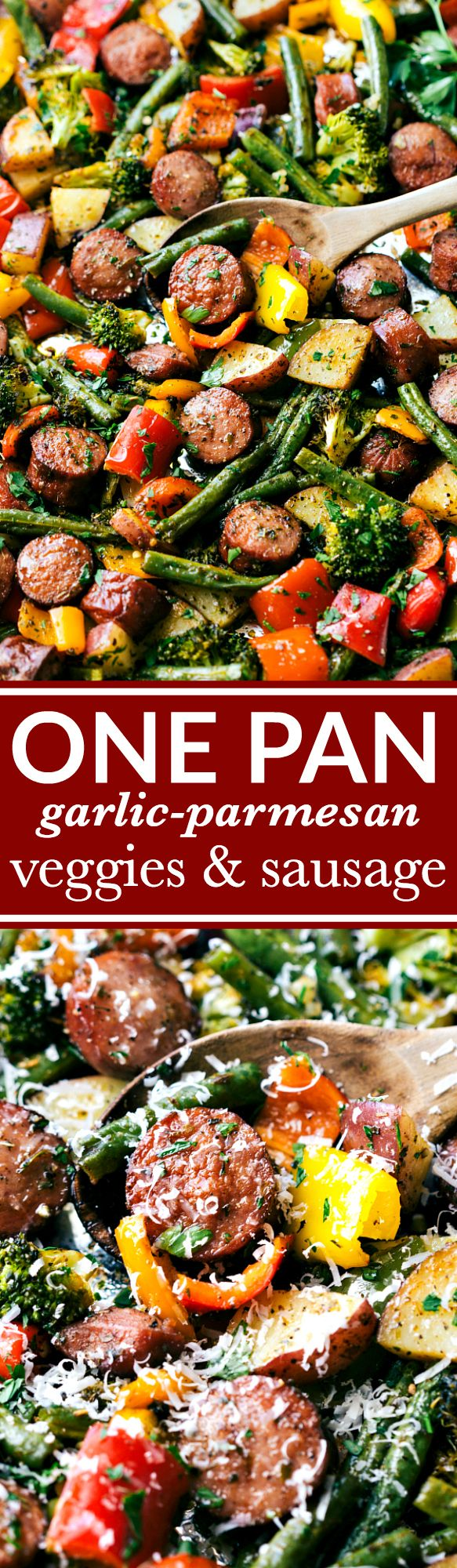Healthy garlic parmesan roasted veggies with sausage and herbs all made and cooked on one pan. 10 minutes prep, easy clean-up!