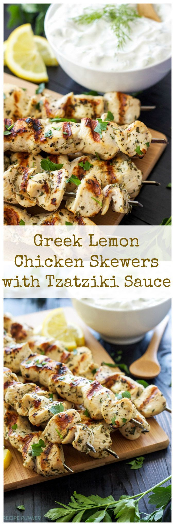 Greek Lemon Chicken Skewers with Tzatziki Sauce   Delicious and healthy Greek chicken skewers with a sauce youll want to slather