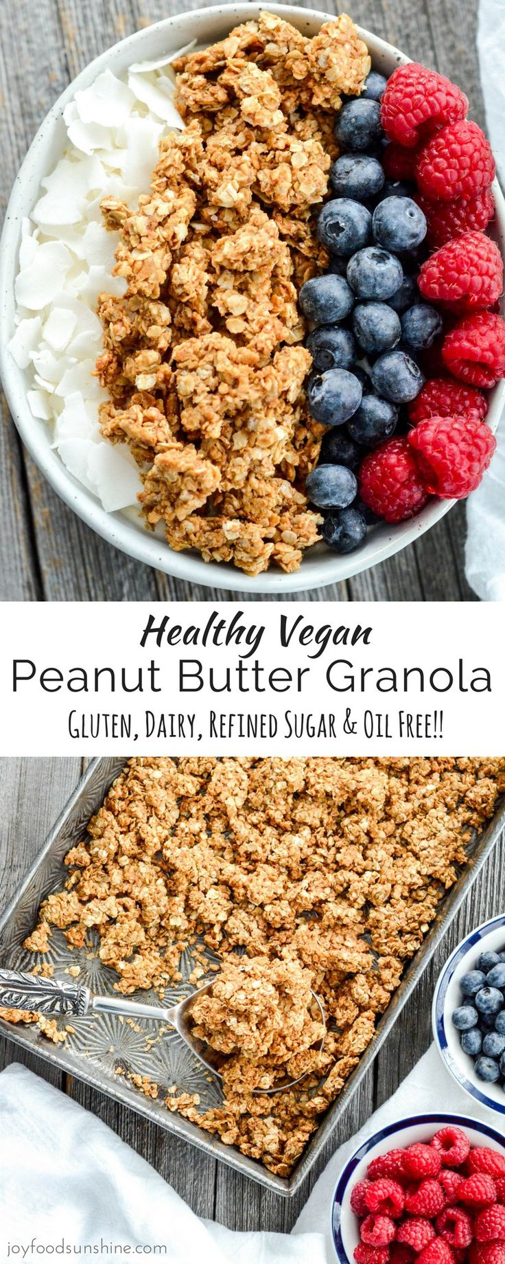 This Healthy Peanut Butter Granola is the perfect make-ahead breakfast recipe! With only 6 ingredients its so easy to make!