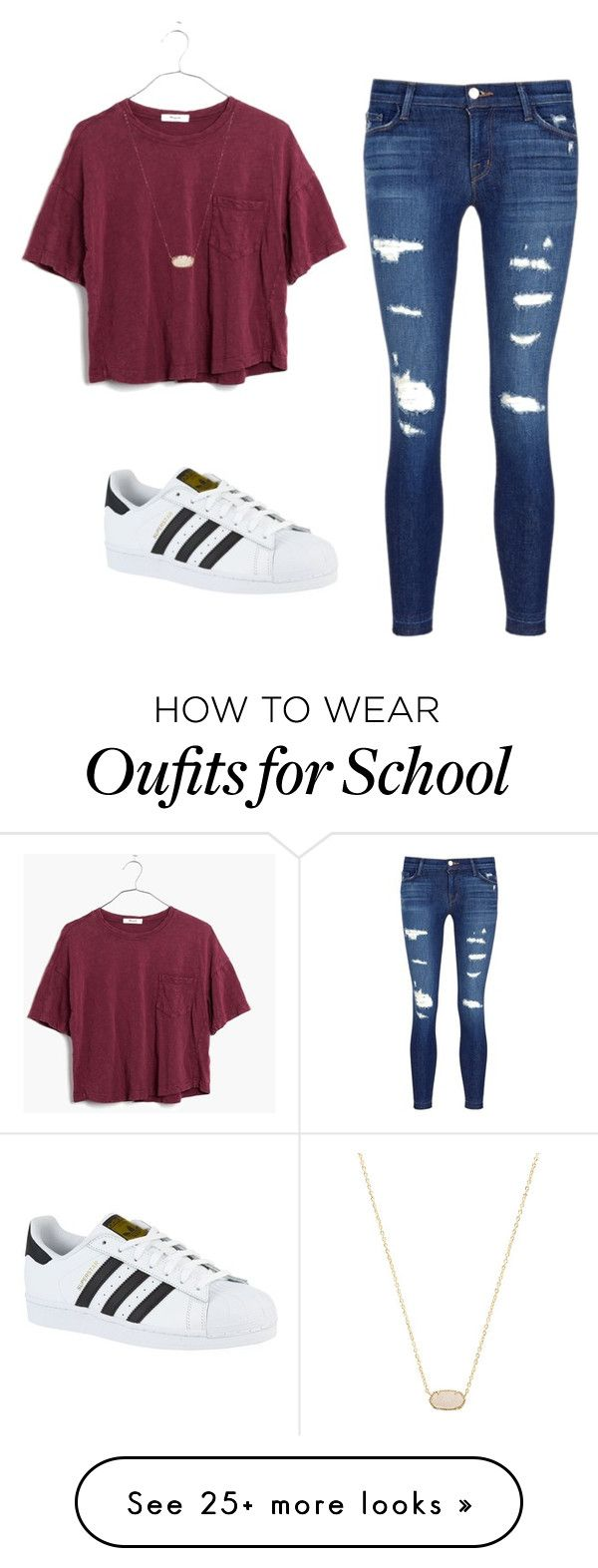 """School outfit #1"" by e-m-dog on Polyvore featuring J Brand, adidas, Madewell and"