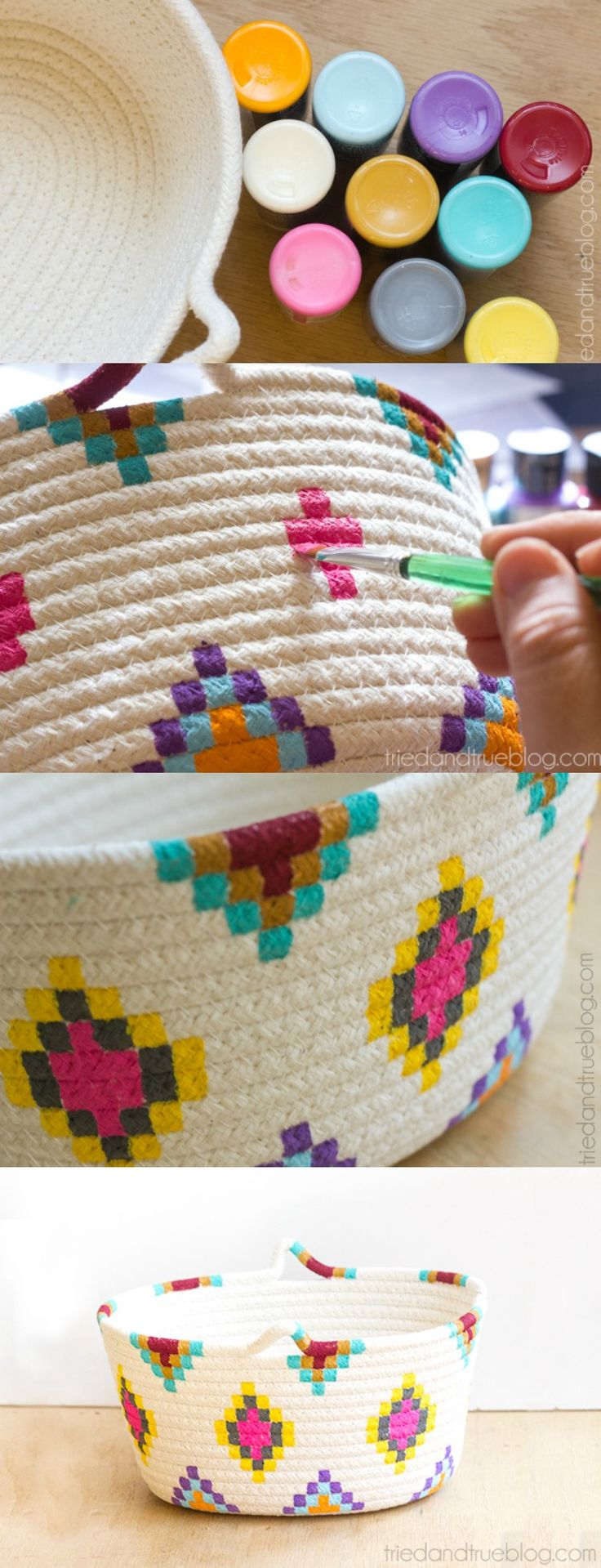 Pretty! This Kilim-Inspired painted basket tutorial is an easy way to try out a fun new color palette quickly and inexpensively.