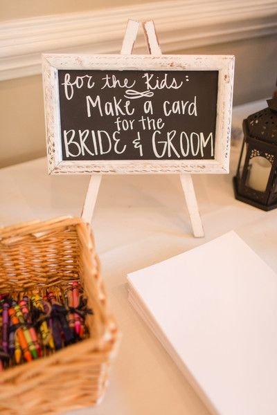 Kids table idea – crayons + paper to make a card for the bride + groom {Amber Rhodes Photography}
