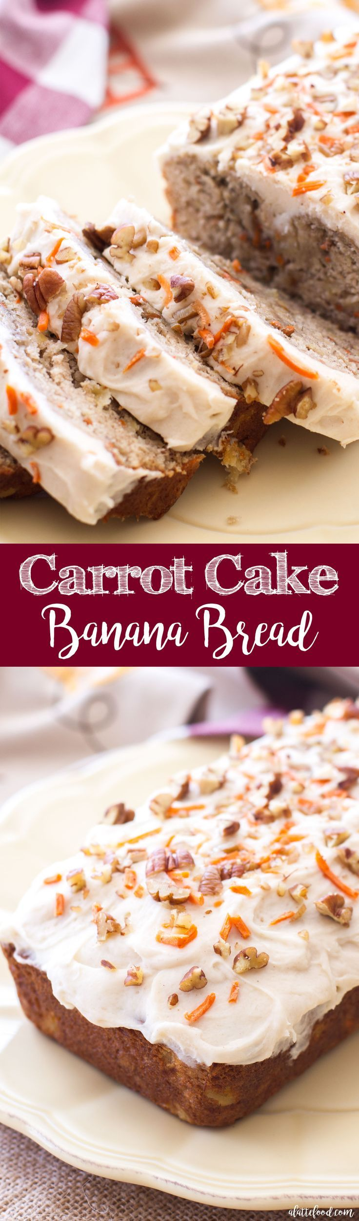 Carrot cake meets banana bread in this easy quick bread recipe! Moist, flavorful, and topped with rich homemade cream cheese