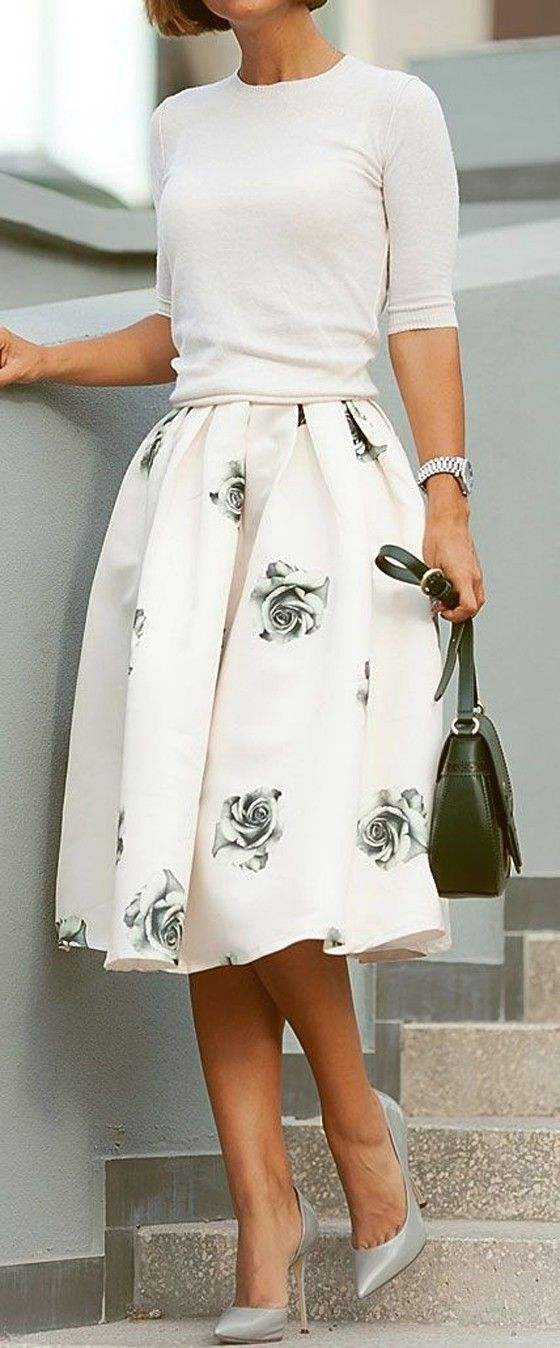 Grey Rose Print Pleated High Waisted Knee Length Sweet Elegant Skirt – Skirts – Bottoms