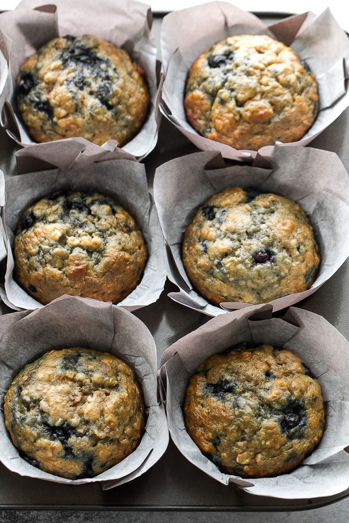 These blueberry banana oatmeal muffins are made with NO butter or oil, but so soft and tender that youd never be able to tell!