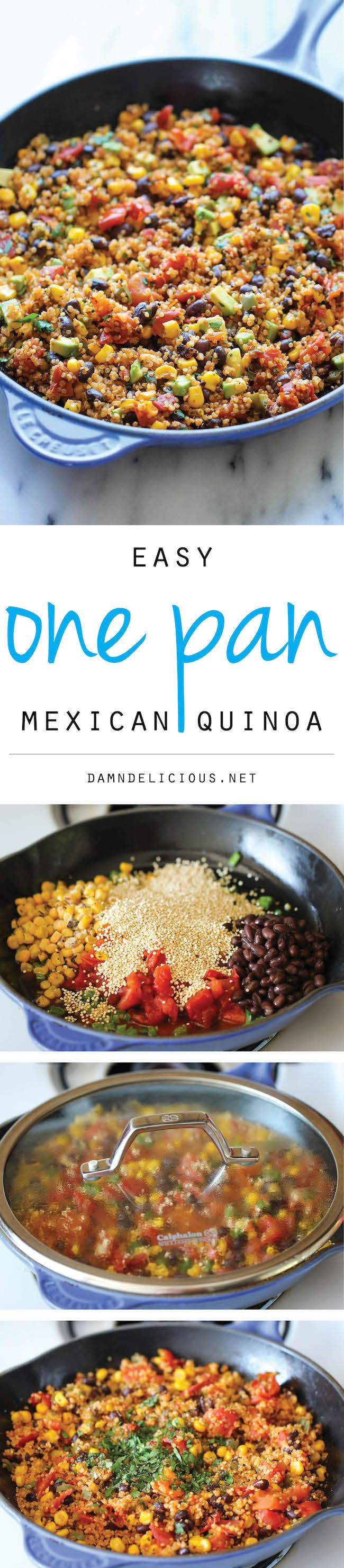 One Pan Mexican Quinoa – Wonderfully light, healthy and nutritious. And its so easy to make – even the quinoa is cooked right in