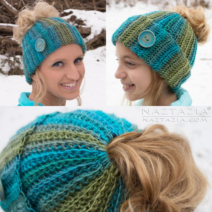 DIY Free Pattern and YouTube Tutorial Video for Crochet Ribbed Bun Hat – Messy Bun Hat – by Donna Wolfe from Naztazia