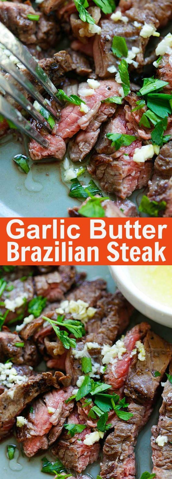 Garlic Butter Brazilian Steak – the juiciest and most tender steak with a golden garlic butter sauce. Takes 15 minutes and