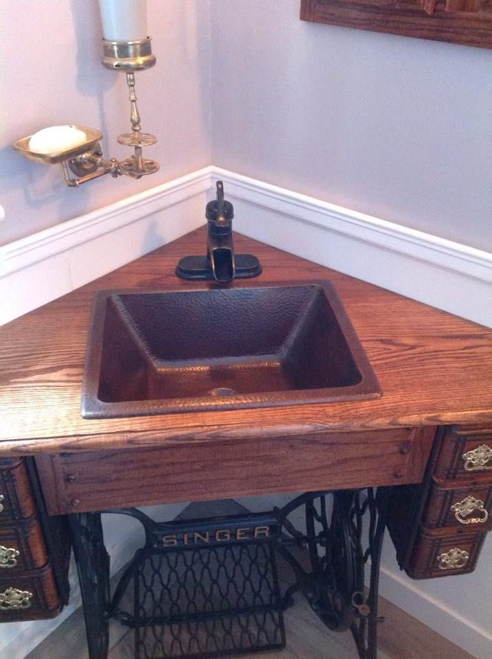 Weve seen a lot of installs of our sinks, but never have we seen one in a Singer Sewing machine!