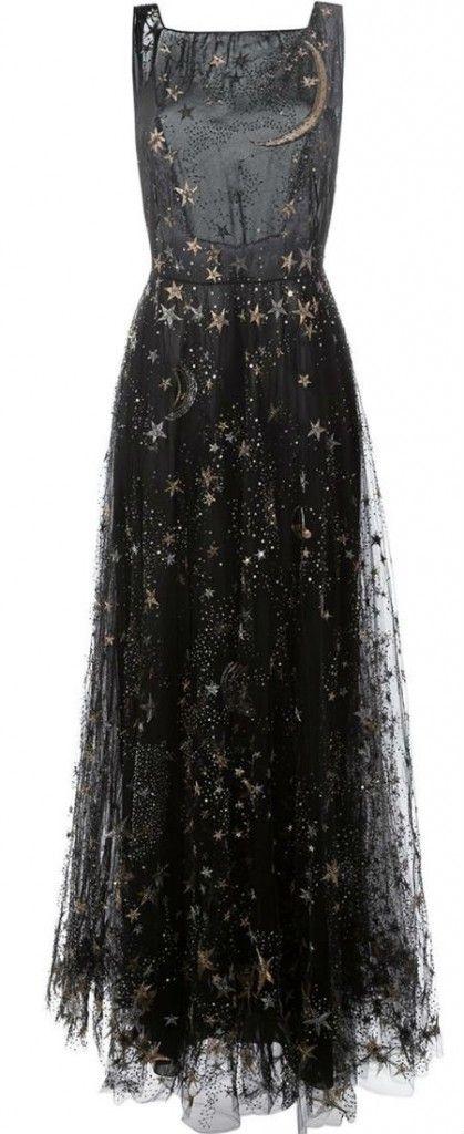 stars & moon embroidered dress : valentino