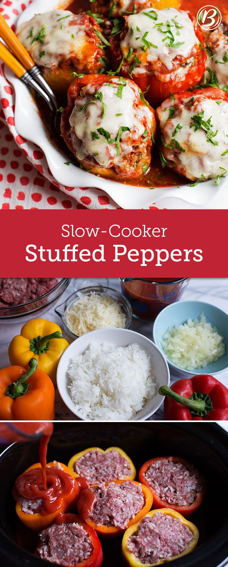 Classic beef- and rice-stuffed peppers are now easier to make than ever with some help from your slow cooker. Use any good melting