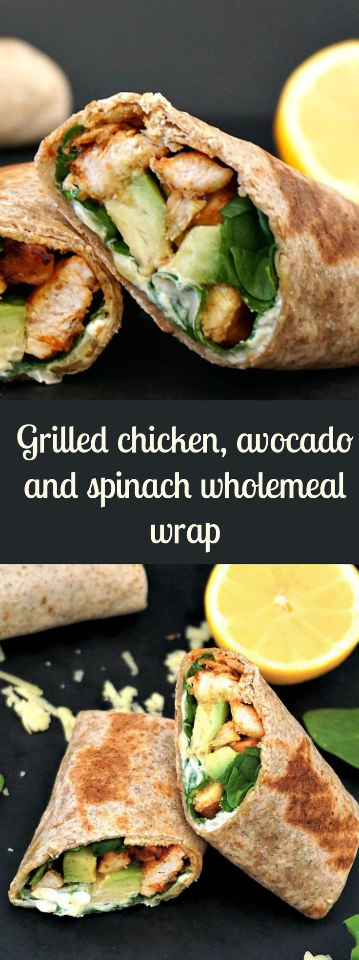 Grilled chicken, avocado and spinach wholemeal wrap, a healthy recipe when you are on the go or time is short for cooking