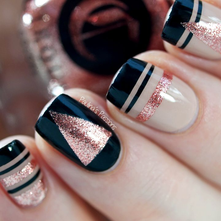 New Year Nails – Striping tape nail art by Paulinas Passions