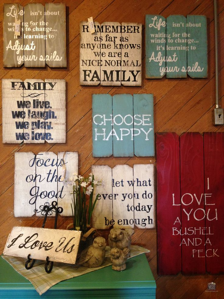 Find your favorite sayings at Country Furniture & Gifts at Gardner Village! {love the wood backgrounds used for making these