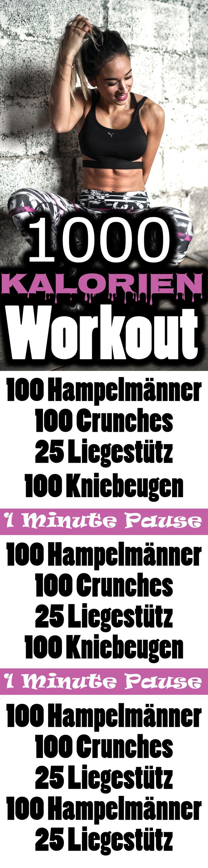 Workout für Zuhause – 1000 Kalorien verbrennen – Bauch Beine Po und Oberkörper trainieren.