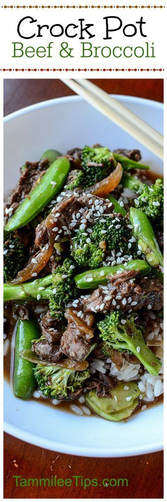Crock Pot Beef and Broccoli Recipe with Snow Peas! This slow cooker Asian-inspired recipe is easy to make and tastes delicious!