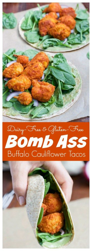 Spicy buffalo cauliflower tacos are one of our favorite easy healthy dinners, my hubby-to-be likes to describe them as