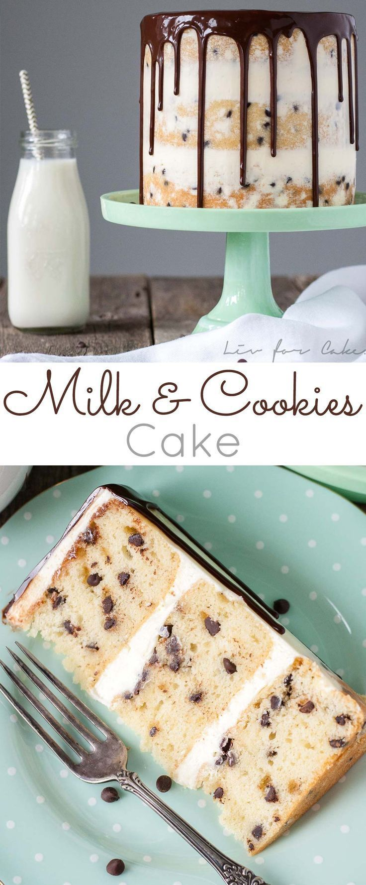 Milk & Cookies Cake! A childhood favorite gets an extreme makeover into this decadent Milk & Cookies Cake!   livforcake.com