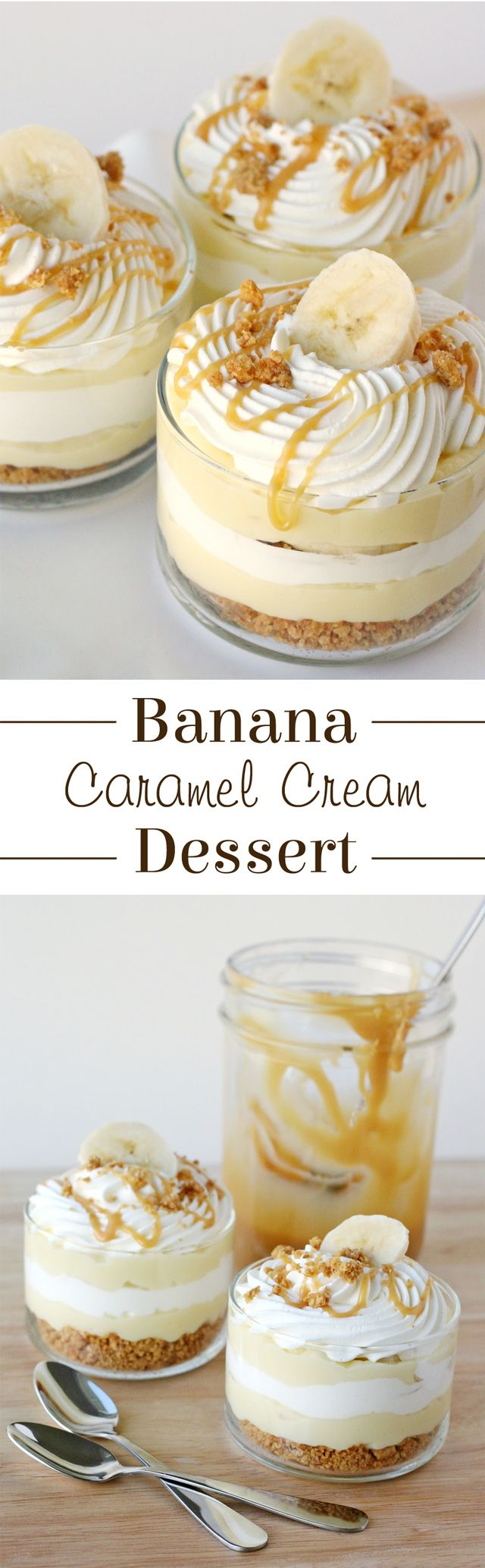The most AMAZING dessert ever!  Sweet, creamy, crunchy… this Banana Caramel Cream Dessert has it all!