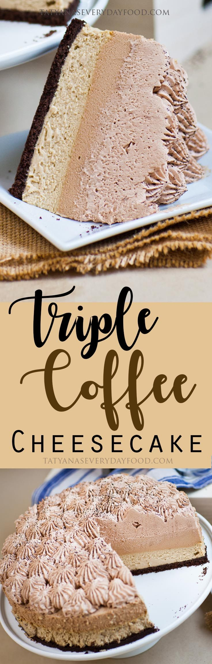 Coffee lovers – this extravagant cake is for you! My Triple Coffee Cheesecake is a combination of Kahlua cheesecake, Kahlua-coffee