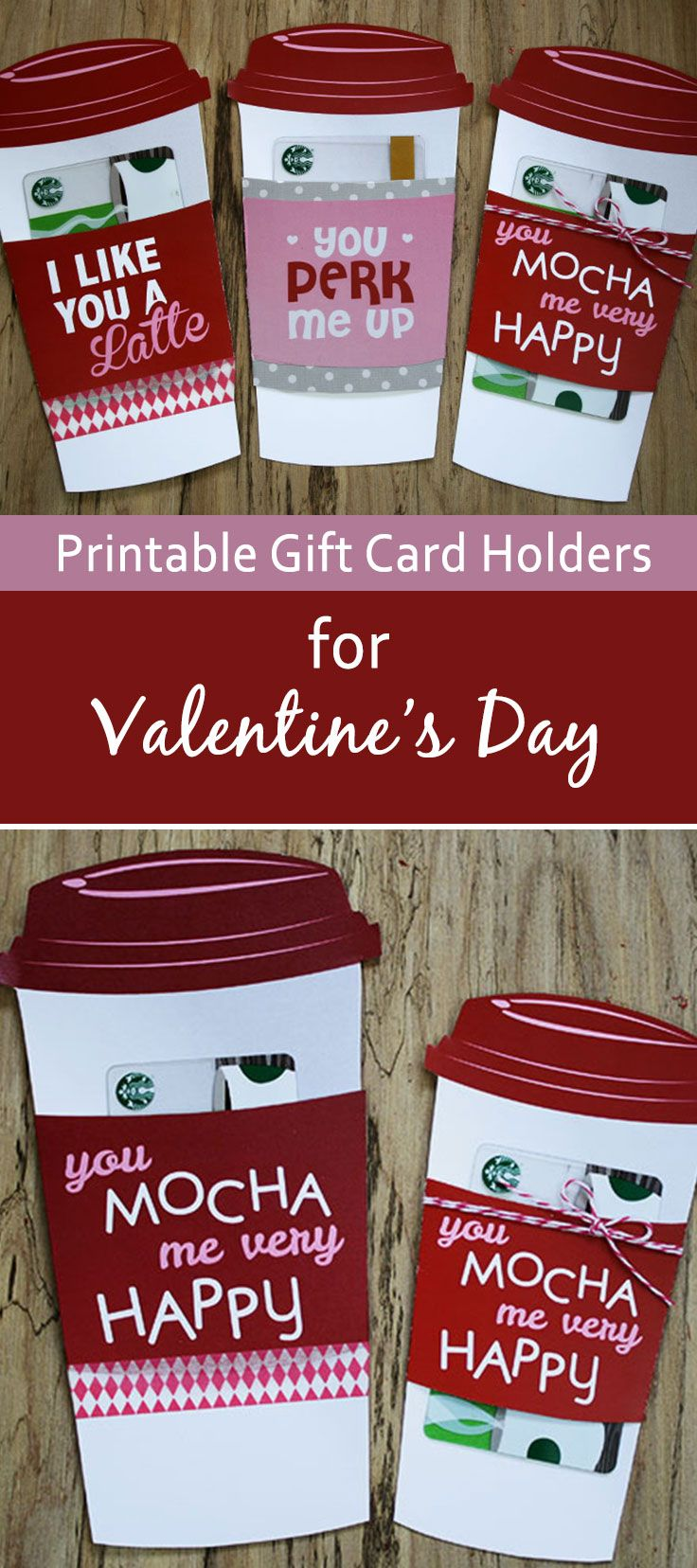 Youll love this last-minute Valentines Day gift card holder. Grab a Starbucks gift card and print this free holder to with it. You