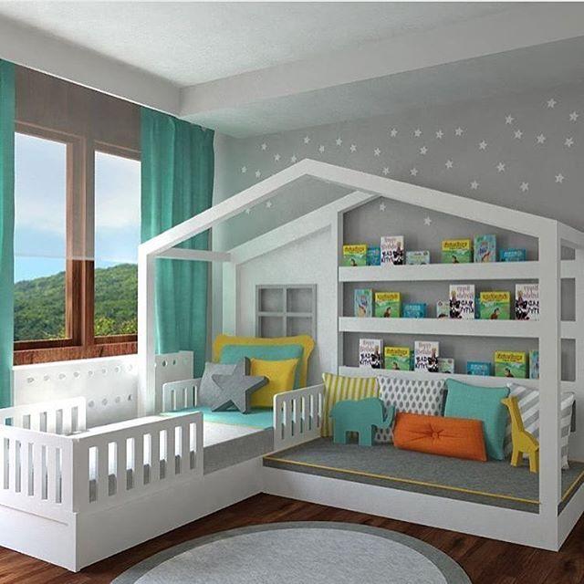Ein Paradies im Kinderzimmer. Spielhaus, Muschelecke und Bett in einem.