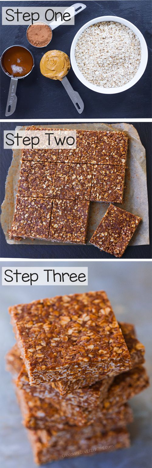 """A """"lightened up"""" version of those classic chocolate oatmeal no bake bars everyone loves so much:  At first glance,"""