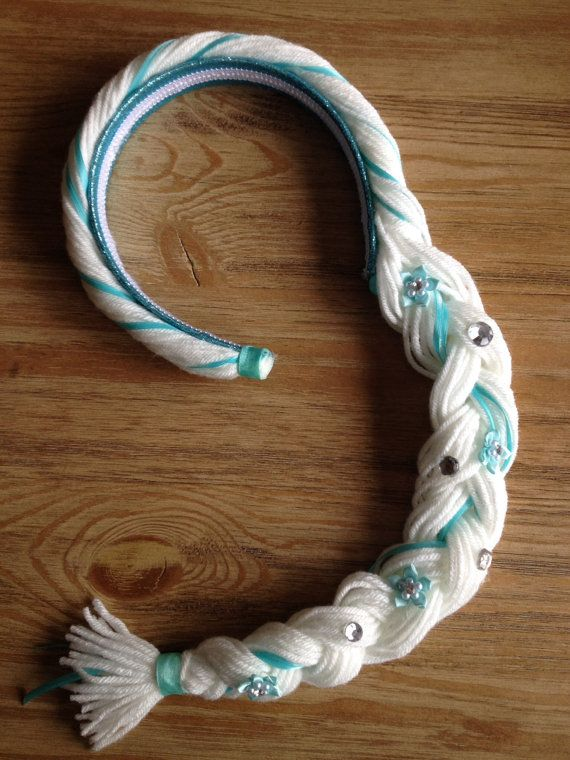 This listing is for 1 headband braid that would go great with an Elsa dress. Headband fits most kids ages 1-10. Made on a sturdy