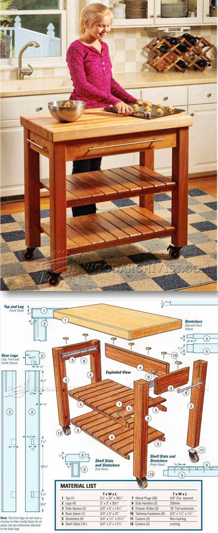 Portable Kitchen Island Plans – Furniture Plans and Projects | WoodArchivist.com