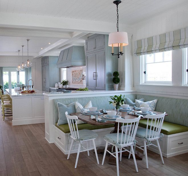 Built in banquette. Open kitchen with built in banquette. L shaped built in banquette in breakfast room. #builtinbanquette Kim