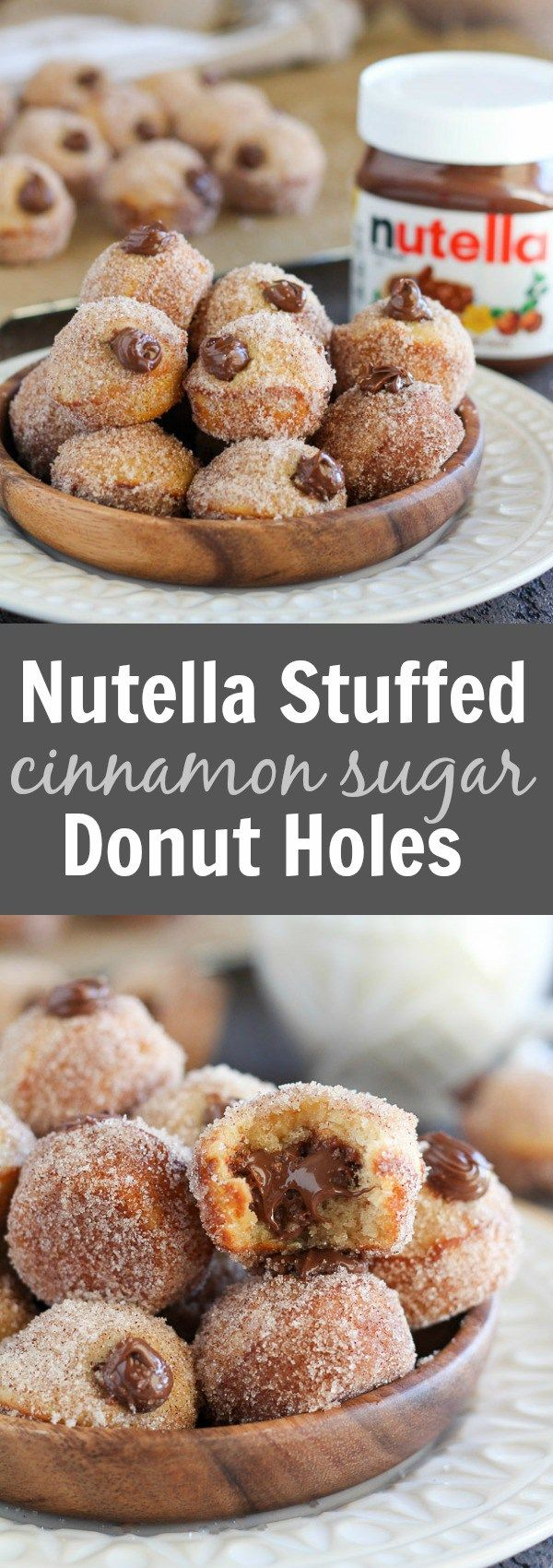 Nutella Stuffed Cinnamon Sugar Donut Holes – Baked vanilla donut holes coated in cinnamon sugar and filled with creamy Nutella. No