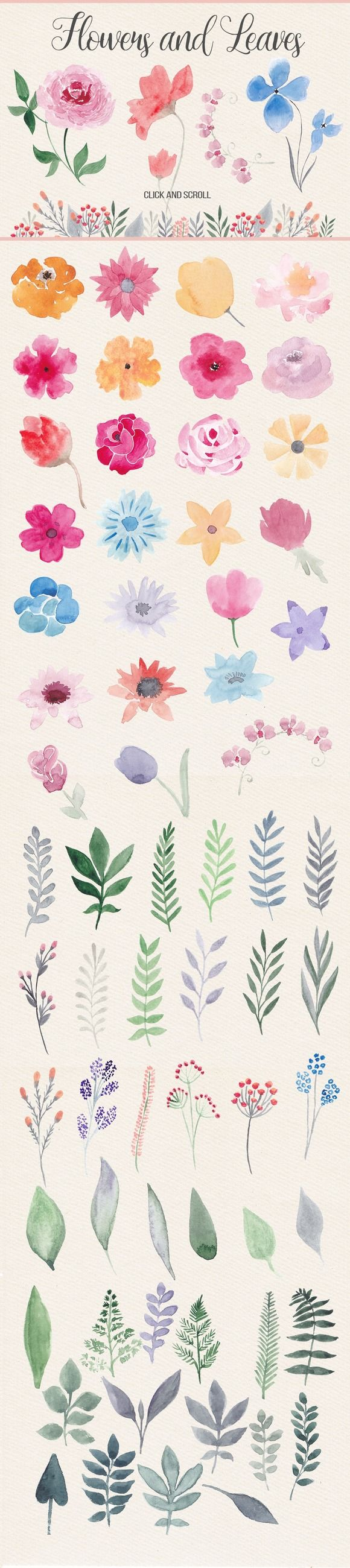 This pack contains more than 40 watercolor flowers, about 40 floral elements (leaves, branches), 5 watercolor bouquets, 12