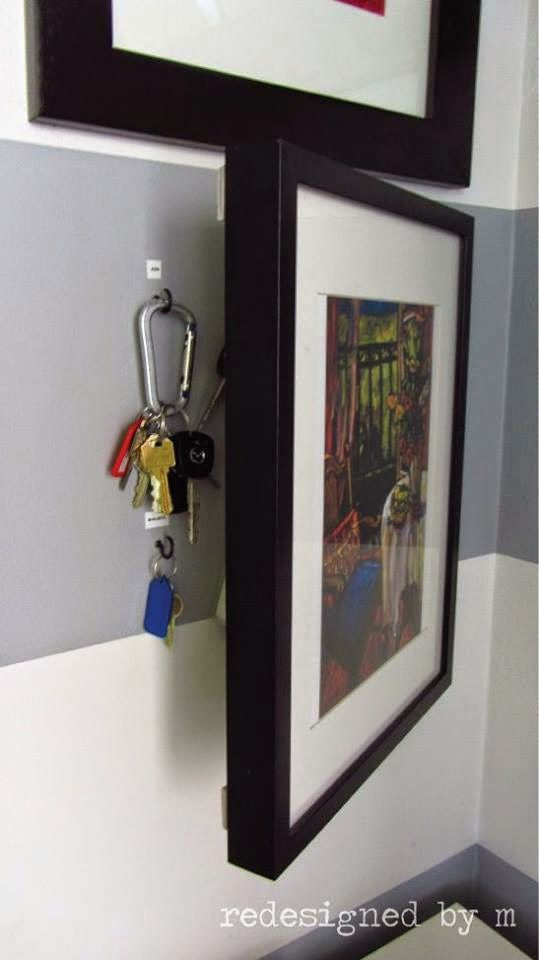 Well this is clever! Hanging keys in the entry way can sometimes look disorganized. Easy fix? Hide them behind custom framed