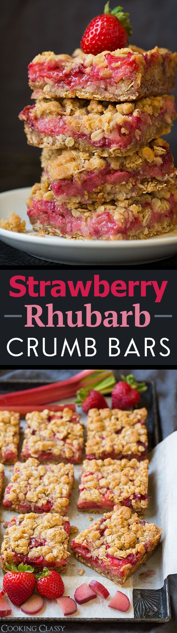 Strawberry Rhubarb Crumb Bars – one of my all time FAVORITE bar recipes!! I could stop eating them!