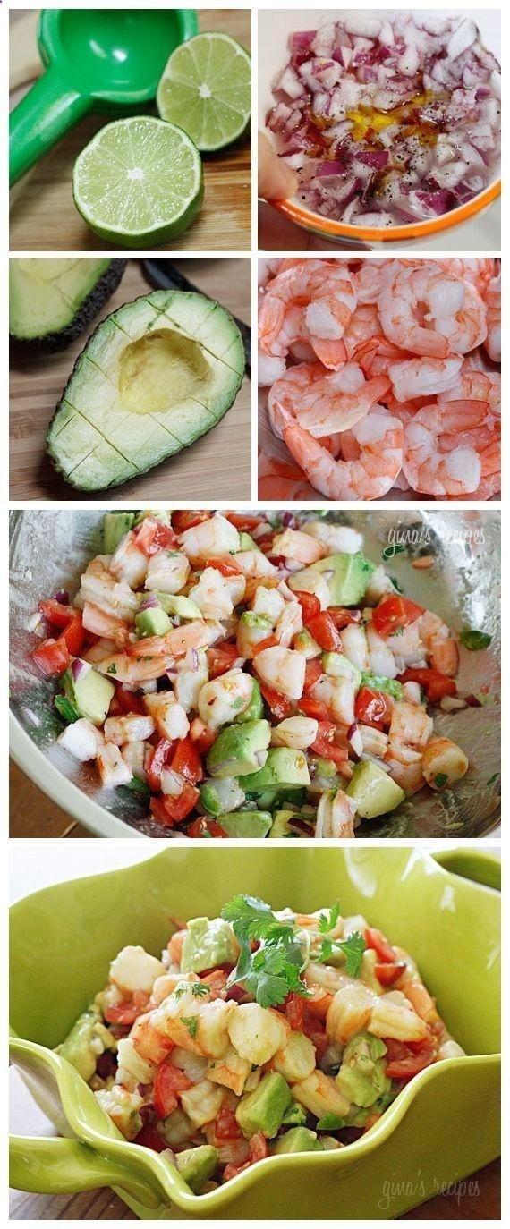 Zesty Lime Shrimp and Avocado Salad: 1 lb jumbo cooked shrimp, peeled and deveined, chopped* 1 medium tomato, diced 1 hass
