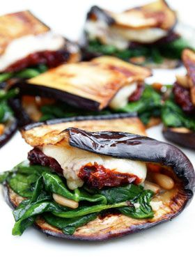 """EGGPLANT WRAP with SPINACH, SUN-DRIED TOMATO & CHEESE ~~~ this recipe is shared with us from the book, """"food: vegetarian home"""
