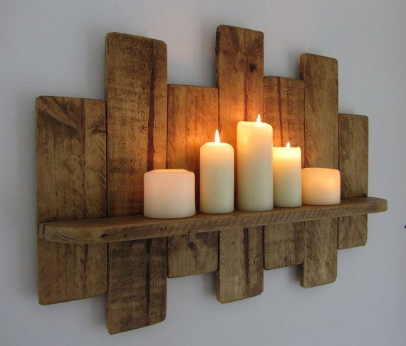 66cm Reclaimed pallet wood floating shelf / candle holder shabby chic / country cottage furniture