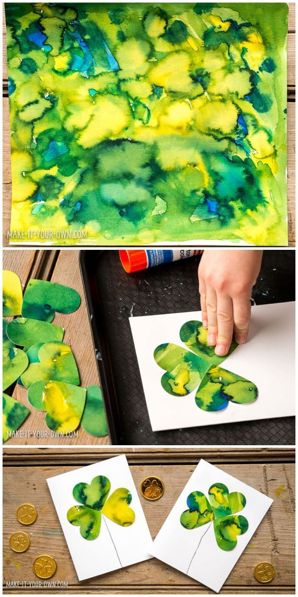 Kid-Made Watercolor Shamrock Clover Cards. Easy St. Patricks Day art project…